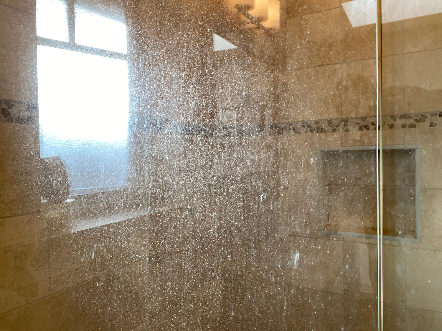 shower glass soap film before 2