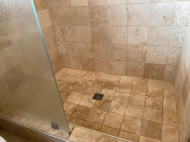 travertine shower before deep clean