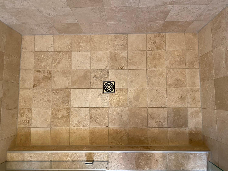travertine shower floor after deep clean